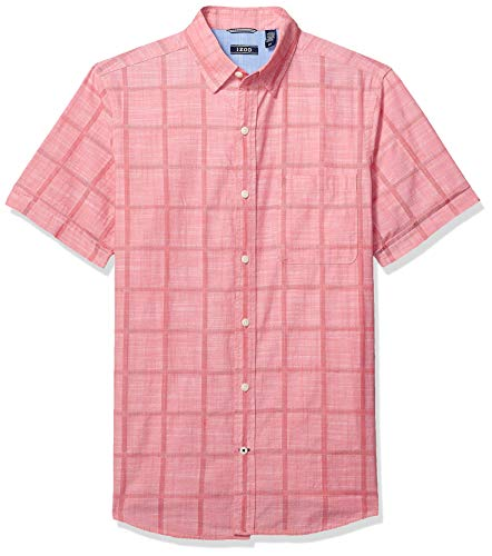 IZOD Men's Saltwater Short Sleeve Solid T-Shirt with Pocket, rapture Rose 1, X-Large
