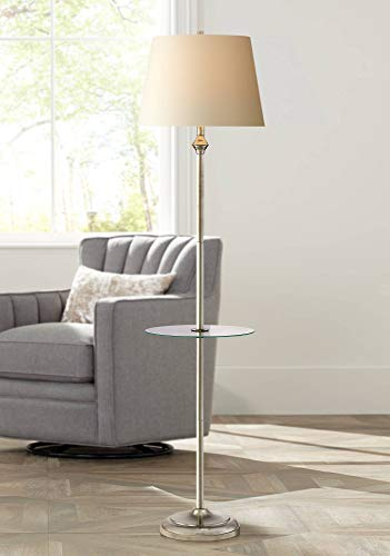 Dayton Modern Floor Lamp with Table Glass Tall Satin Nickel White Fabric Hardback Tapered Drum Shade for Living Room Reading - 360 -