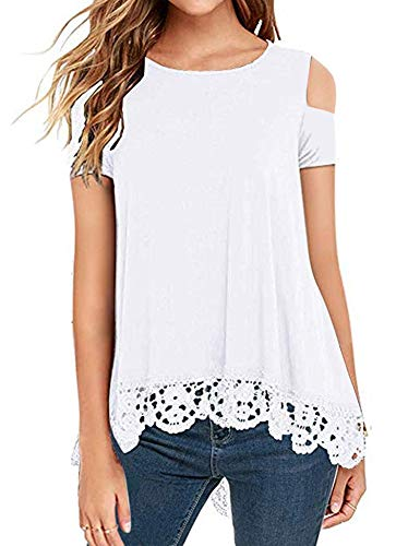 Short Sleeve Novelty - RAGEMALL Womens Cold Shoulder Tops Short Sleeve Lace Trim Tunic Blouse Top for Women White XXL