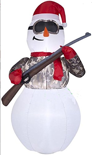 Christmas Inflatable 6' Camo Hunter Snowman Holding Rifle By Gemmy