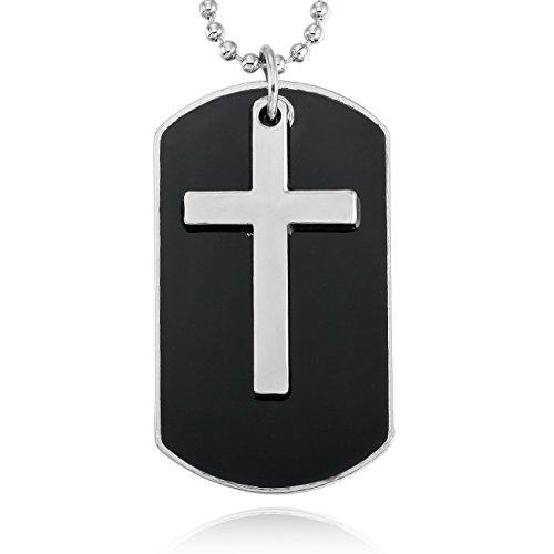 MOWOM Silver Tone Black Alloy Enamel Pendant Necklace Cross Dog Tag Army Style