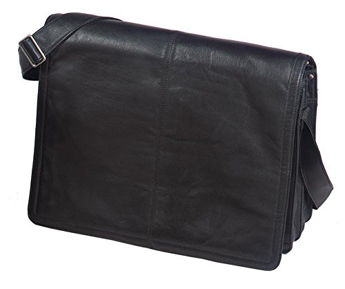 (Winn International Harness Cowhide Leather Messenger Bag, Computer Bag in Black)