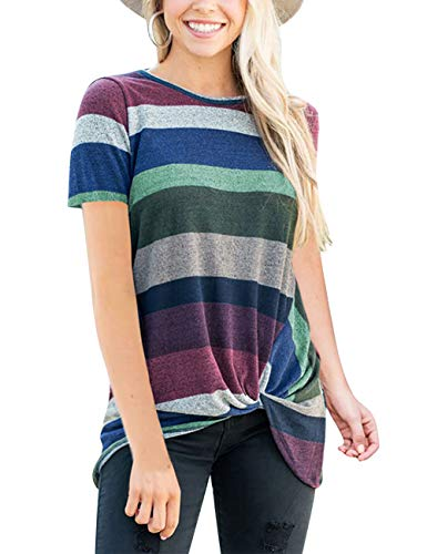Purple Tops Color Block T Shirts Short Sleeve Twist Knot Knitted Tunic Tops