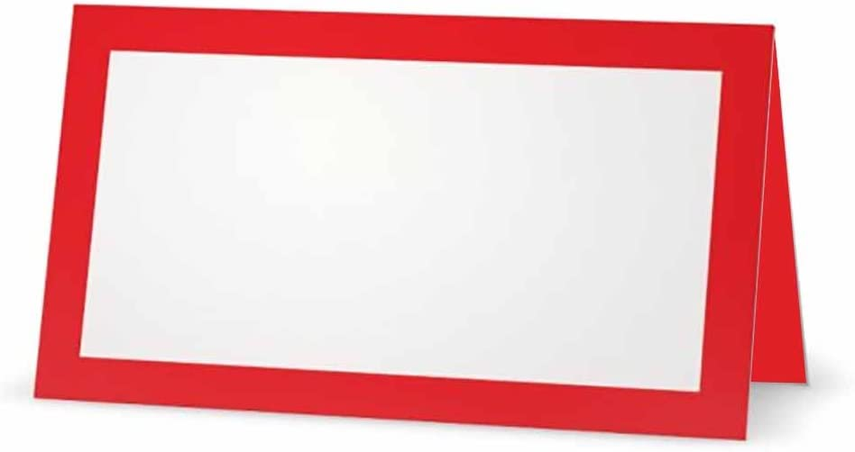 Red Place Cards - Flat or Tent - 10 or 50 Pack - White Blank Front with Solid Color Border - Placement Table Name Seating Stationery Party Supplies - Occasion or Dinner Event (10, Tent Style)