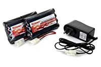 2pcs 9.6V 2000mAh NiMH Battery Packs for RC Car, Robots, Security + Simple Pack Charger