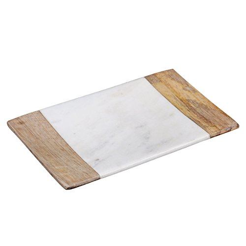 Creative Home Natural Marble and Mango Wood Bar Dish, Soap Tray Holder, 3.5