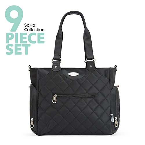 SoHo diaper bag Tribeca 9 pieces nappy tote bag for baby mom dad stylish insulated unisex multifunction travel large capacity durable includes changing pad stroller straps mesh organizer Black (Designs Soho)
