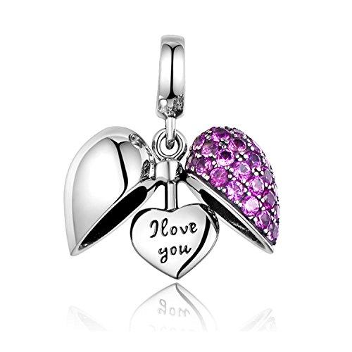 (I Love You Heart Dangle Charm Sterling Silver Fit Pandora Bracelets )