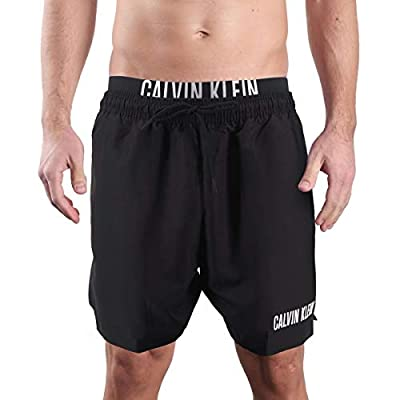 Calvin Klein, Medium Swim Shorts with Double Waistband, Black, CKL_KM0KM00450BEH - M