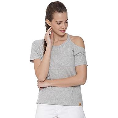 Campus Sutra Solid Women's Round Neck Grey T-Shirt(AZ118TOP_