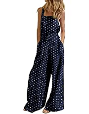 Bidobibo Womens Casual Baggy Overalls Jumpsuit with Pockets Solid Color Wide Leg Harem Pants for Women