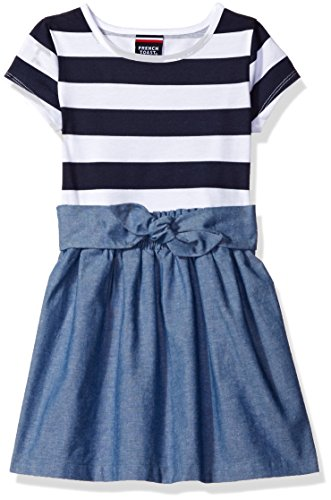 French Toast Little Girls' Knit to Woven Dress, Washed Chambray, (Back To School Clothes For Girls)