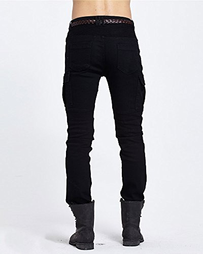Uomo All'aperto Biker A Media Nero Cargo Allungare Pantalone Skinny Vita Jeans Pantaloni EUr7wU