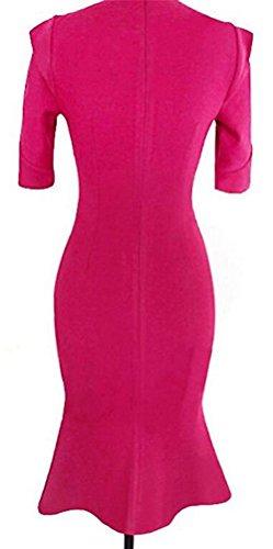SunIfSnow - Vestido - ajustado - Lunares - con botones - Manga corta - para mujer Hot Pink