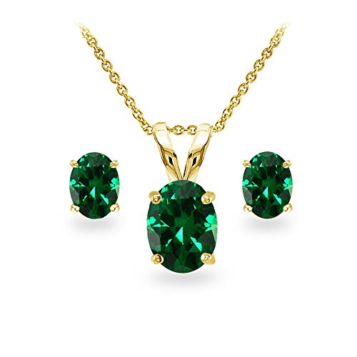 GemStar USA Yellow Gold Flashed Sterling Silver Simulated Emerald Oval-cut Solitaire Necklace and Stud Earrings Set (Emerald Solitaire)