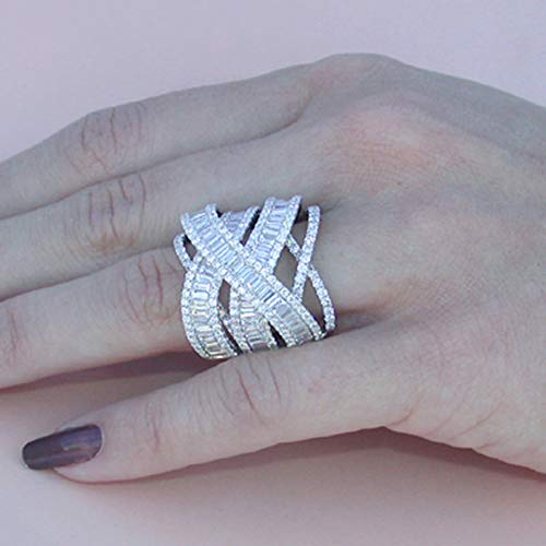 bromrefulgenc Elegant Pretty Ring,Gorgeous Women Multi-Layer Hollow Rhinestone Ring Wedding Bridal Party Jewelry - Silver US 8
