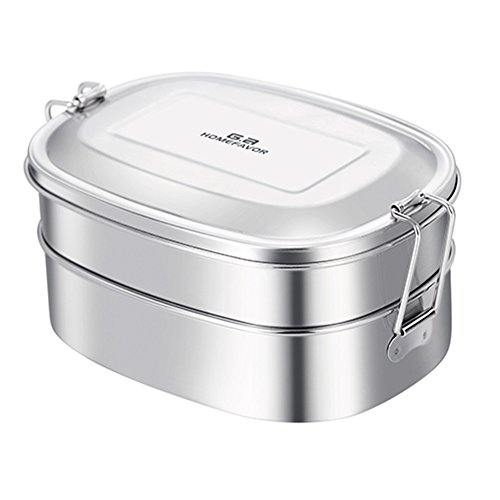 Stainless Steel 2-in-1 Food Container, Eco-Friendly Lunch Bento Box for Kids or Adults, Dishwasher Safe and BPA-Free – All Stainless