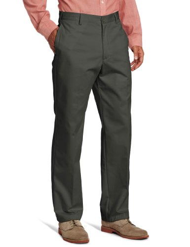 IZOD Men's American Chino Flat Front Pant, Olive, 34W x (Cotton Dress Chino)