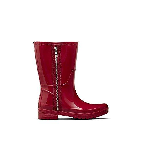 Unlisted Women's Zip Rain Boot, Cherry Red, 6 M US (Womens Boot Rain Cherry)
