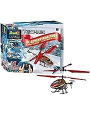Revell Control 01033 RC adventskalender Helikopter met afstandsbediening, 2,4 GHz, LED-verlichting, gyro, incl. batterijen in 24 dagen voor zelfgebouwde, op afstand bedienbare helikopter, rood