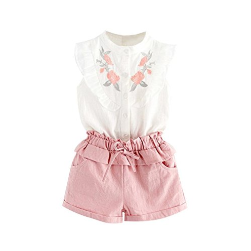 - FEITONG Toddler Kids Baby Girl Embroidered Sleeveless Shirt + Shorts Outfit Clothes Set