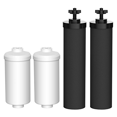 (AQUA CREST Water Filter, Compatible with Black Filters (BB9-2) & Fluoride Filters (PF-2) Combo Pack Fluoride Filters- Includes 2 Black Filters and 2 Fluoride)