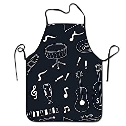 Sandayun88x Apron Musical Instruments Adjustable Kitchen Chef Apron With Pocket And Extra Long Ties Commercial Men Women Bib Apron For Cooking Baking Crafting Gardening Bbq