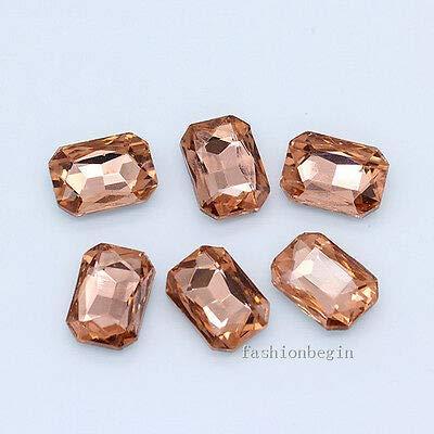FidgetGear 12p 27x18MM Color Point Foiled Back Crystal Rhinestone Glass Octagon Jewel Stone Peach