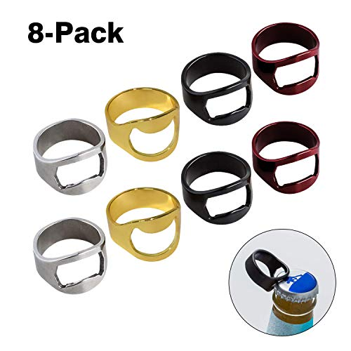 8-Pack Bottle Opener, Heavy Duty Stainless Steel Beer Bottle Opener, Ring Bottle Opener Best Bottle/Can Openers, Compact, Versatile & Durable, Used in Kitchen Restaurant and Bars, Bright Color