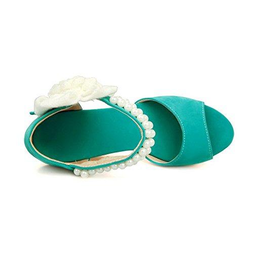 boucle talon Femmes ouvert Vert bout et AllhqFashion solide crochet Sandales imitation daim dRxxqzTY