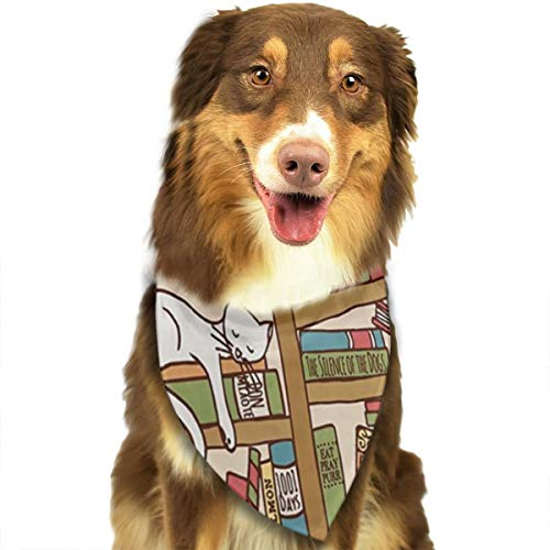 FRTSFLEE Dog Bandana Nerd Book Lover Kitty Sleeping Over Bookshelf in Library Scarves Accessories Decoration for Pet Cats and Puppies]()