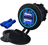 900 rzr accessories - 4.8 AMPS Blue-Fast Dual Waterproof USB Socket Charger for Boat, Polaris RZR 900, 1000, Marine, RV, Can Am Spyders, Can Am Maverick, Can AM SxS, Golf Cart, Jeep (4.8A Blue)