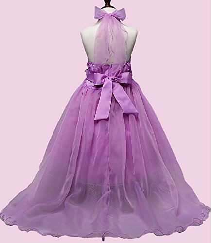 Wedding Dress Damigella Party Agogo Festkleid Purple d'onore Kommunionkleid Girl Children Back Princess Flower Bow Festival qYtxvBpntw
