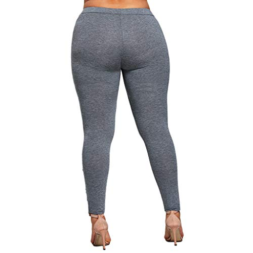 Pleated Brushed Twill Slack - FEDULK Plus Size Womens Pants Fashion Appliqued Tight Leggings Casual Sport Yoga Trousers(Gray, XXXX-Large)