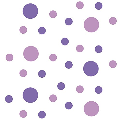 - Set of 30 - Lavender/Lilac Circles Polka Dots Vinyl Wall Graphic Decals Stickers