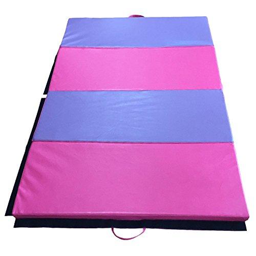 Tenive 4'X 6'X 2' Pu Leather Gymnastic Exercise Mat Tumbling Mats Gym Folding Panel Martial Art Mat ,Pink/Black Strip