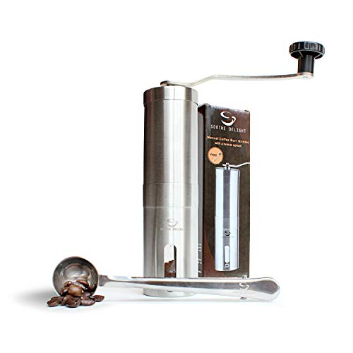 Manual Coffee Grinder with Stainless Steel Mill Conical Burr by Soothe Delight – Offers Adjustable Flavor from Fresh Press to Espresso, Quiet and Smooth, Includes Clip-Spoon, Aeropress Compatible