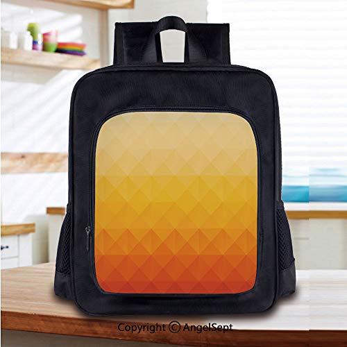 Kids School Backpack,Digital Triangle Geometric Mosaic Gradient Shades of Orange Poly Art Decorative Nursery Room Decorations Classic,Plain Bookbag Travel Daypack,Red Vermilion Marigold