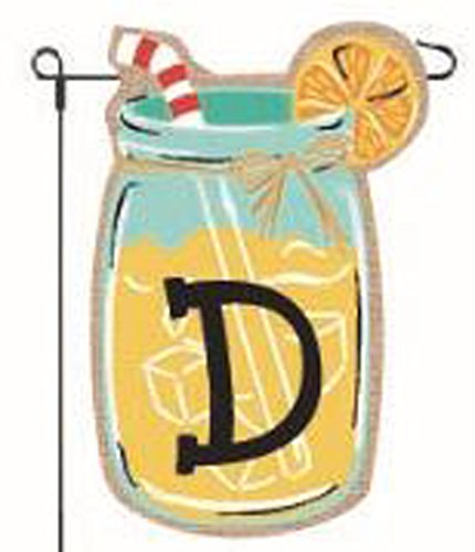 JEC Home Goods Home Garden Flags Monogram Lemonade Mason Jar Burlap Summer Garden Flag 12.5 x 18 (Letter D)
