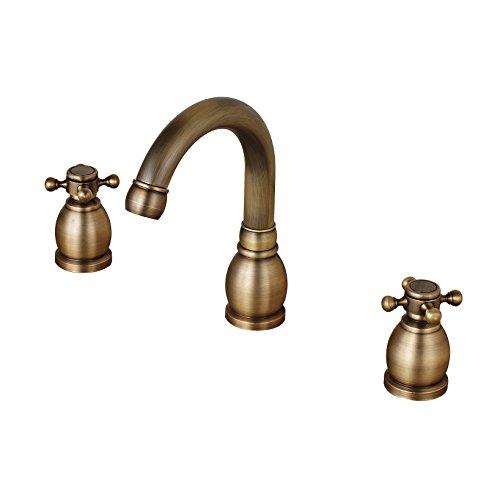 Rozin Widespread 3 Holes Basin Faucet 2 Cross Knobs Vanity Mixer Tap Antique Brass Finish -