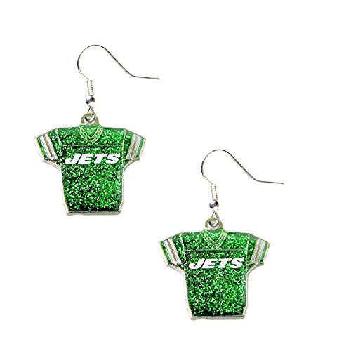 Jersey Jets New York (NFL New York Jets Glitter Jersey Earrings)