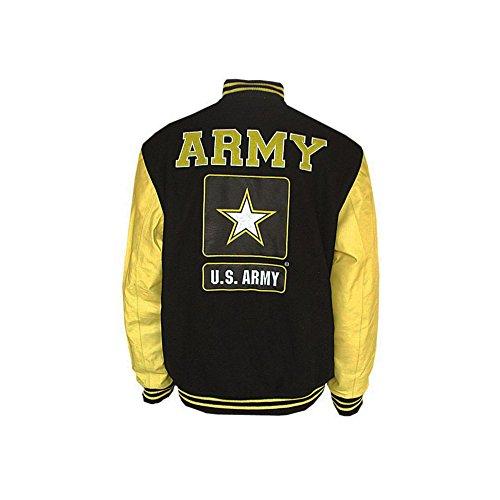 JWM Men's Varsity Jacket US Army XXLarge (Football Leather Jacket)