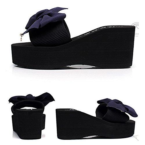 CN37 Amarillo pie de Zapatos Fondo Dedo Mujeres EU37 Cuñas 5 Tamaño Azul Bohemia del Feifei 7cm Color Playa 5 Verano Sandalias del del Grueso Abierto Antideslizante Romanas UK4 Zapatillas de fB0aW