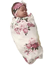 COLOOM Summer Newborn Baby Receiving Blanket Headband Set Pink Flower Print Baby Swaddle Set Gift for Baby Shower