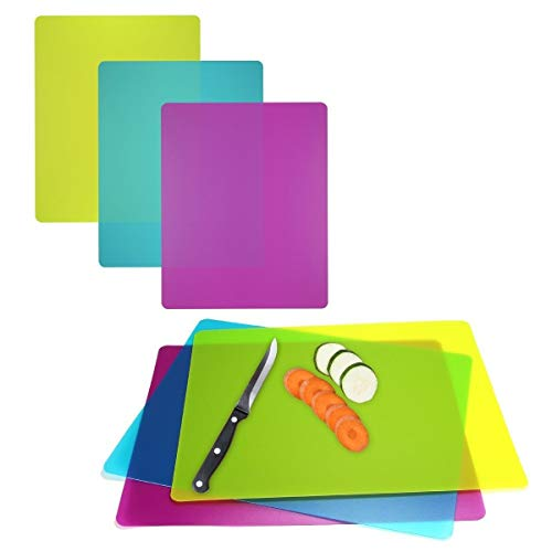 Set Flexible Mats Chopping (6 Pack Flexible Cutting Boards Color Coded Plastic Chopping Mats Dishwasher Safe)