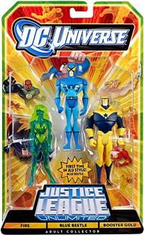 DC Universe Justice League Unlimited Exclusive Action Figure 3-Pack Blue Beetle, Fire & Booster - Dc League Booster Justice