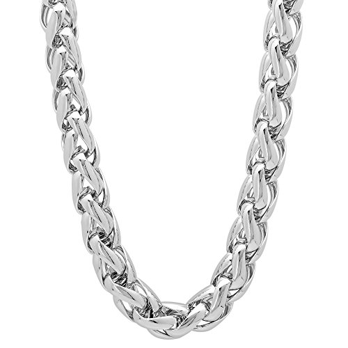 Men's 7mm Heavy Rhodium Plated Braided Wheat Spiga Link Rounded Chain, 24