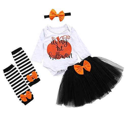 Toddler Halloween Costumes Etsy (iLOOSKR Infant Baby Girls O-Neck Halloween Letter Romper Striped Leg Warmers Tutu Long Sleeve Skirts Outfit)