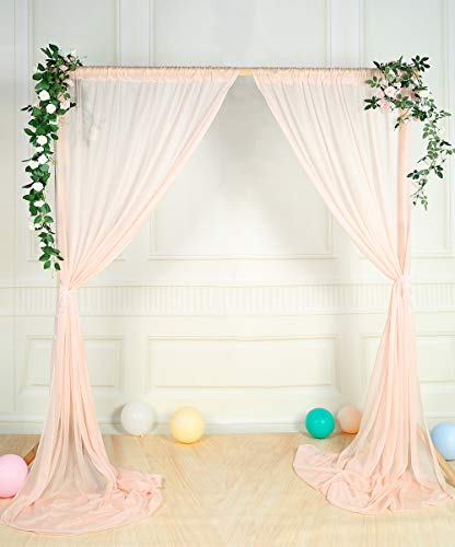 SHERWAY 2 Panels 5 feet x 10 feet Wrinkle-Free Blush Peach Sheer Backdrop Curtains for Wedding Ceremony Party Stage Arch Backdrop Decorations (Sheer Peach)