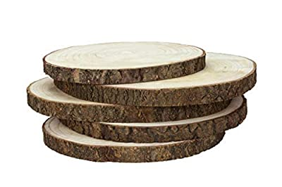 Karavella Wood Slices for Centerpieces - 5 Pack Large Wood Slabs for Tables, 9 to 12 inches, Rustic Decor Wooden Rounds, Charger Circles Wood Craft Tree Pieces, Wood Plates, Wood Cake Stand